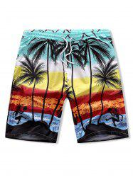 Palm Tree Drawstring Board Shorts -