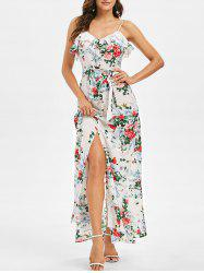 Flower Print Spaghetti Strap Flounce Maxi Dress -