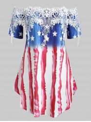 Plus Size American Flag Print Off The Shoulder Lace Panel T Shirt -
