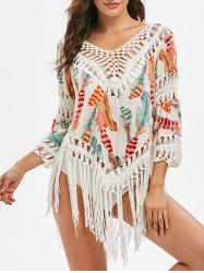 Crochet Panel Feather Print Fringed Cover-up -