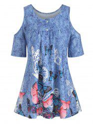 Denim Butterfly Print Open Shoulder Button Yoke T-shirt -