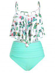Cactus Print Cutout Flounce High Waisted Tankini Swimsuit -