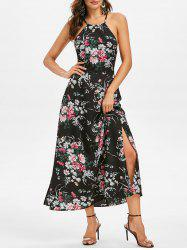 Lace-up Flower Print Open Back Maxi Dress -
