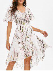 Flower Print Lace-up High Low Midi Dress -