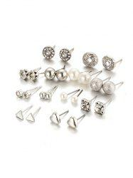 Artificial Pearl Rhinestone Heart Earring Set -