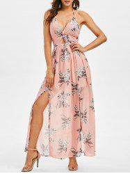Floral Print Twisted Knotted Back Maxi Dress -