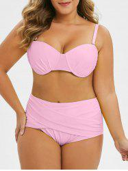 Plus Size Cut Out Criss Cross Lime Bikini Swimsuit -