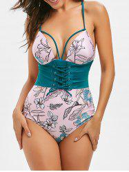 Lace Up Floral Print Backless Swimsuit -