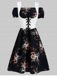 Off Shoulder Flower Dress and Waistcoat Set -