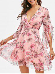 Surplice Floral Flare Sleeve Dress -