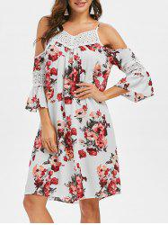 Floral Crochet Yoke Flare Sleeve Dress -