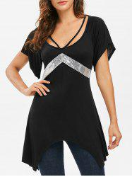 Sequins Raglan Sleeve Asymmetrical T-shirt -