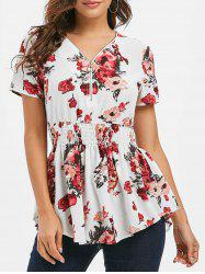 Floral Half Zipper Shirred Blouse -