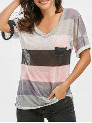 Multi Striped Front Pocket Tee -