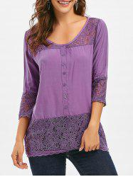 Lace Panel Button Tunic Top -