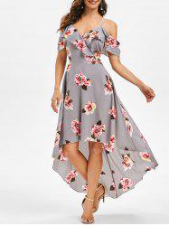 Floral Print Cold Shoulder High Low Dress -