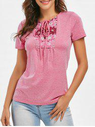 Space Dye Lace-up Flower Print Tee -