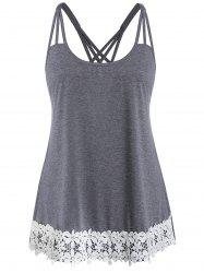 Plus Size Applique Spaghetti Strap Contrast Tank Top -