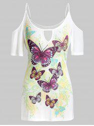 Plus Size Keyhole Butterfly Print Cold Shoulder Tee -