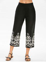 High Rise Embroidery Ninth Pants -
