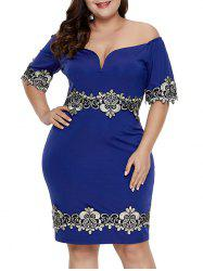 Embroidered Patched Slit Off Shoulder Plus Size Dress -