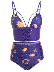 Lace Up Ruched Sun and Moon Tankini Swimsuit -