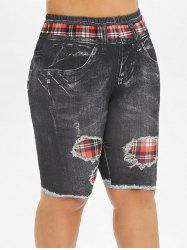 Printed Skinny Plaid Panel Plus Size Shorts -