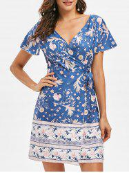 Low Cut Flower Mini Dress -