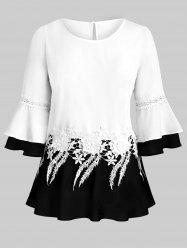 Plus Size Flare Sleeve Applique Panel Keyhole Tunic Blouse -