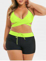 Plus Size Criss Cross Two Tone Wrap Bikini Swimsuit -