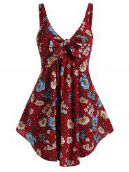 Plus Size Floral Print Bowknot Shirred Tank Top -