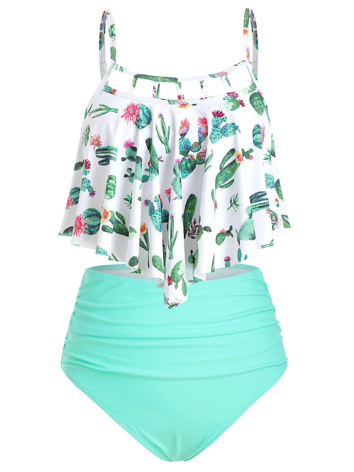 New Cactus Print Cutout Flounce High Waisted Tankini Swimsuit