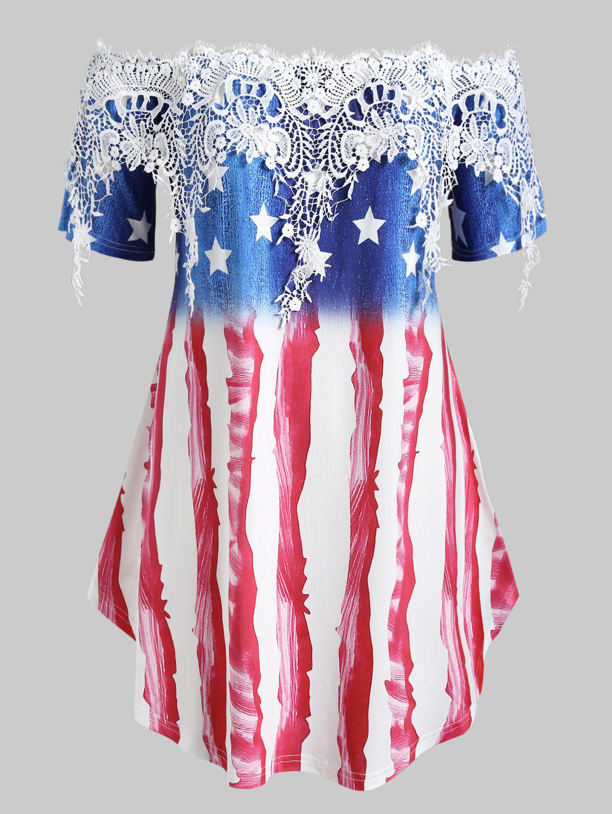 Sale Plus Size American Flag Print Off The Shoulder Lace Panel T Shirt