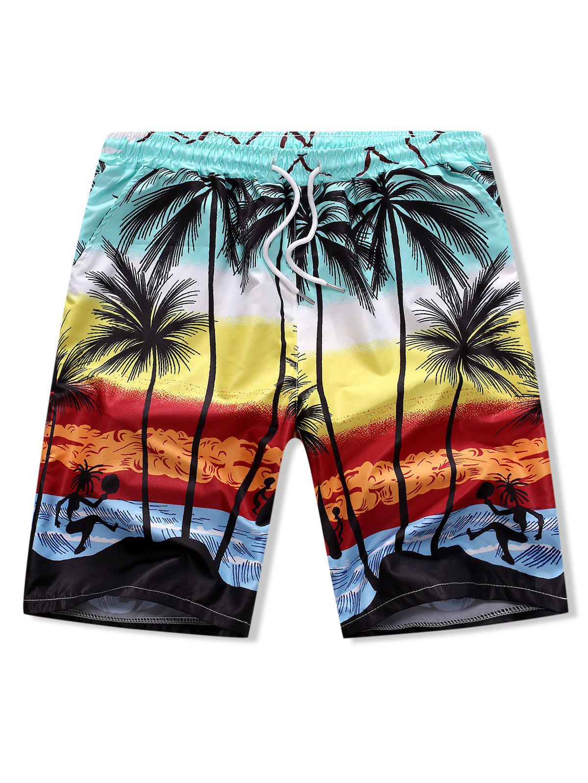Latest Palm Tree Drawstring Board Shorts