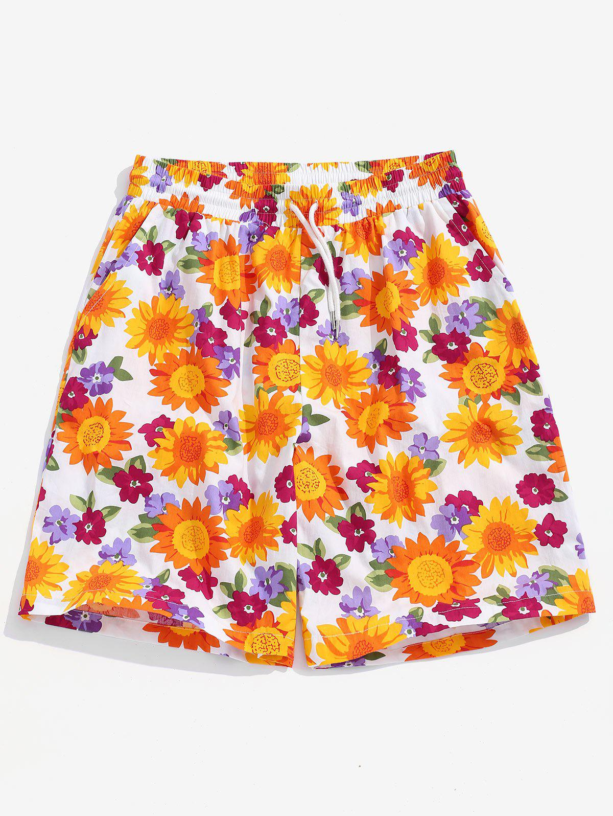 Discount Sunflower Print Drawstring Double Pockets Leisure Shorts