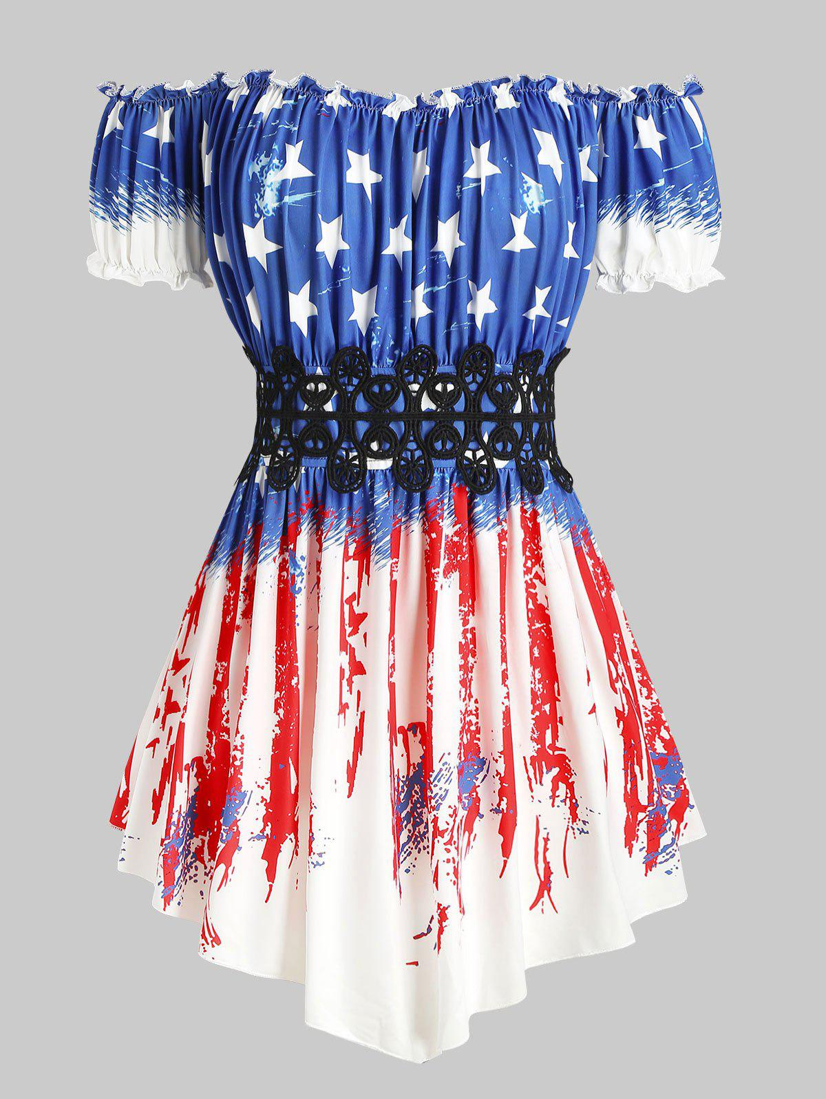 Fancy Lace Panel Off Shoulder American Flag Plus Size Top