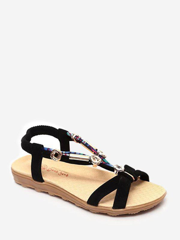 Outfits Beads Cross Strap Slip On Sandals