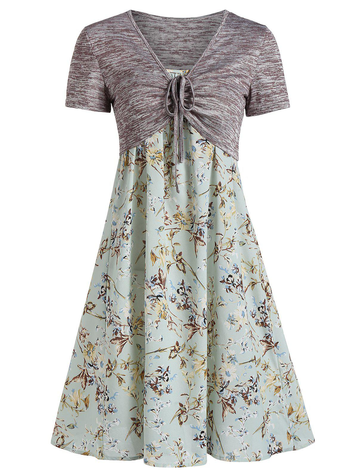 Trendy Floral Print Spaghetti Strap Dress and Cinched Top