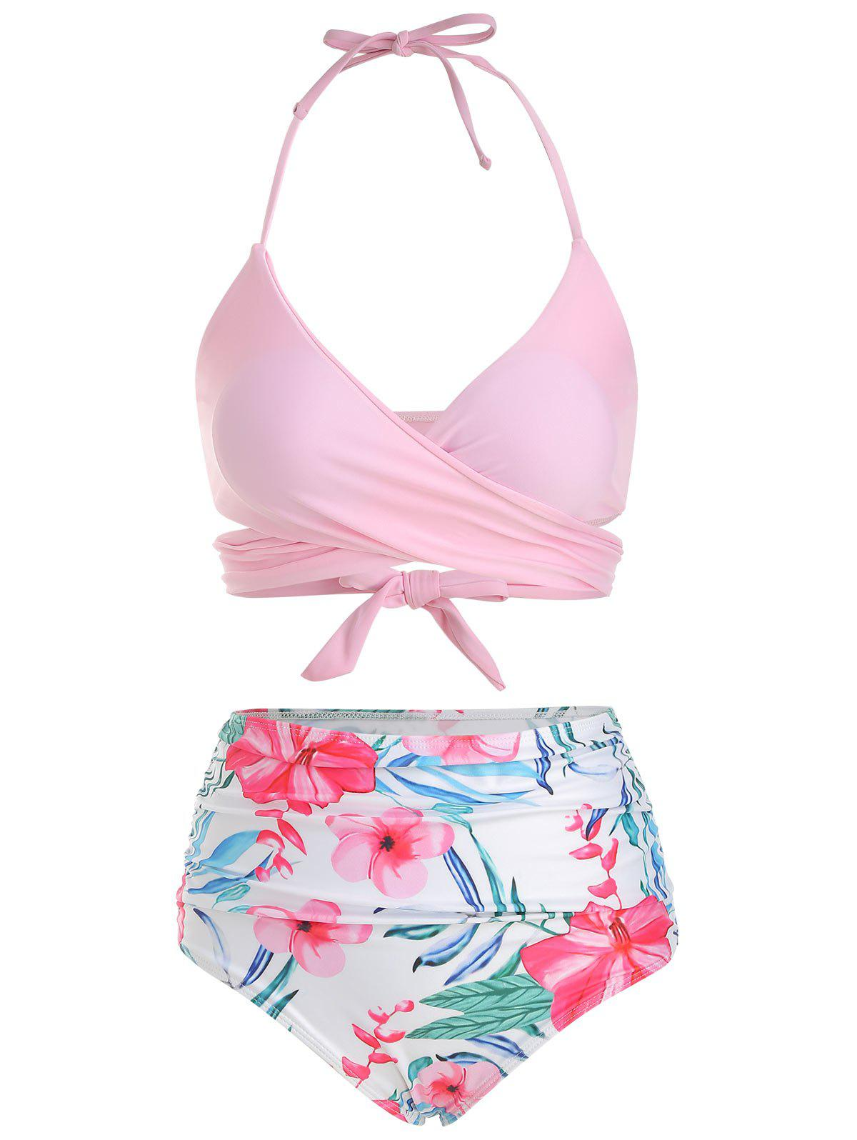 Chic Floral Print Ruched Wrap Bikini Swimsuit