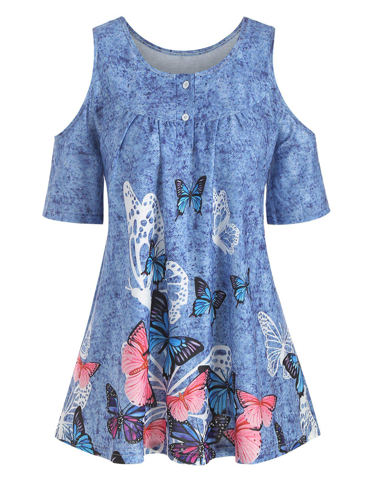 Affordable Denim Butterfly Print Open Shoulder Button Yoke T-shirt
