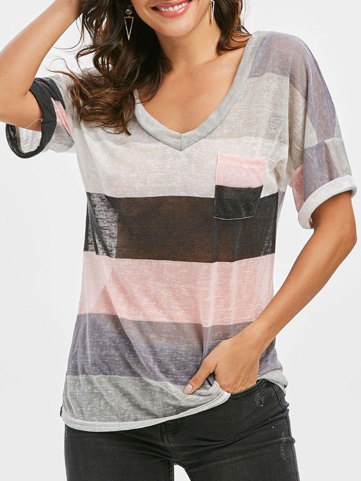 Fashion Multi Striped Front Pocket Tee