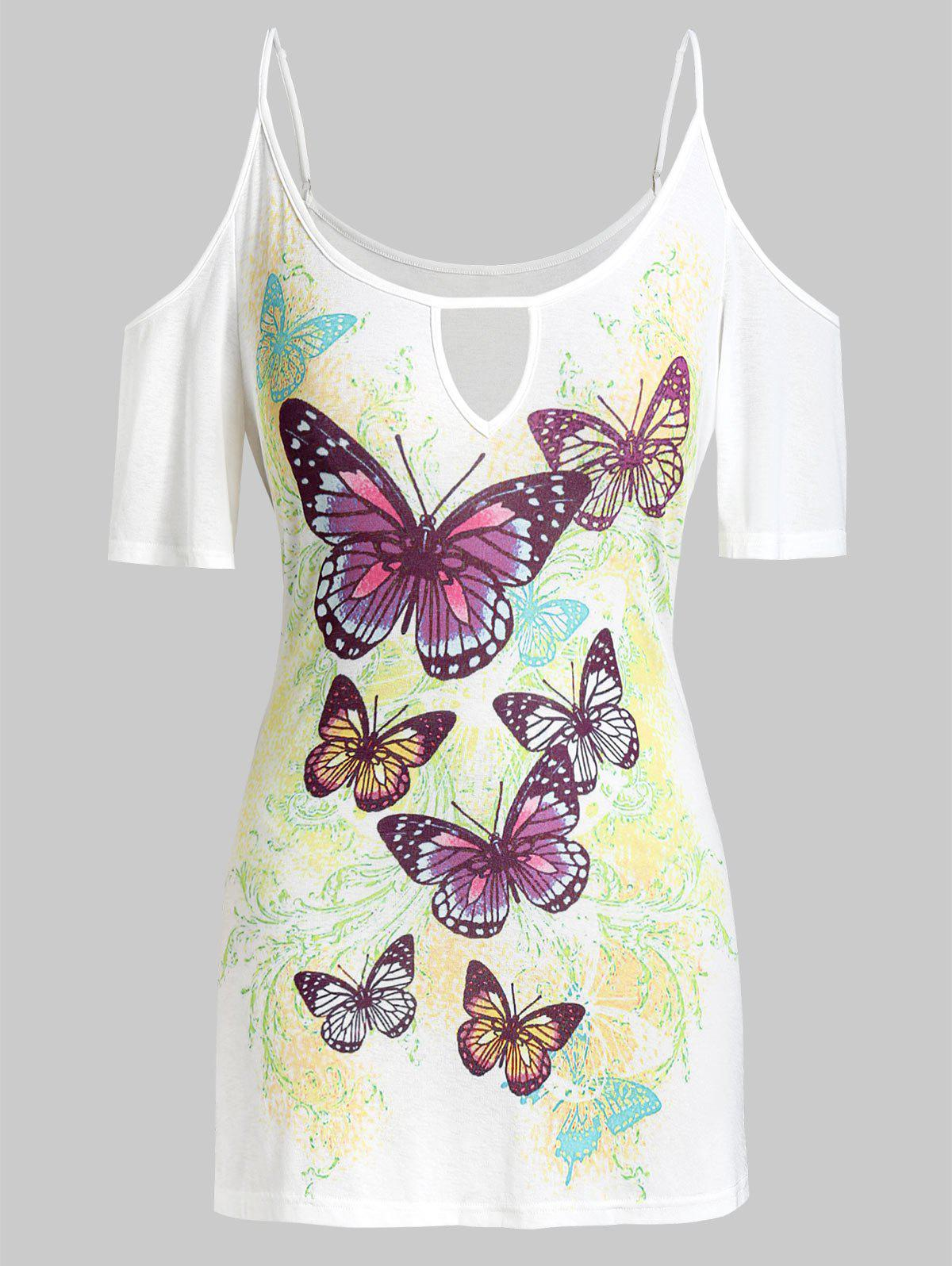 Buy Plus Size Keyhole Butterfly Print Cold Shoulder Tee