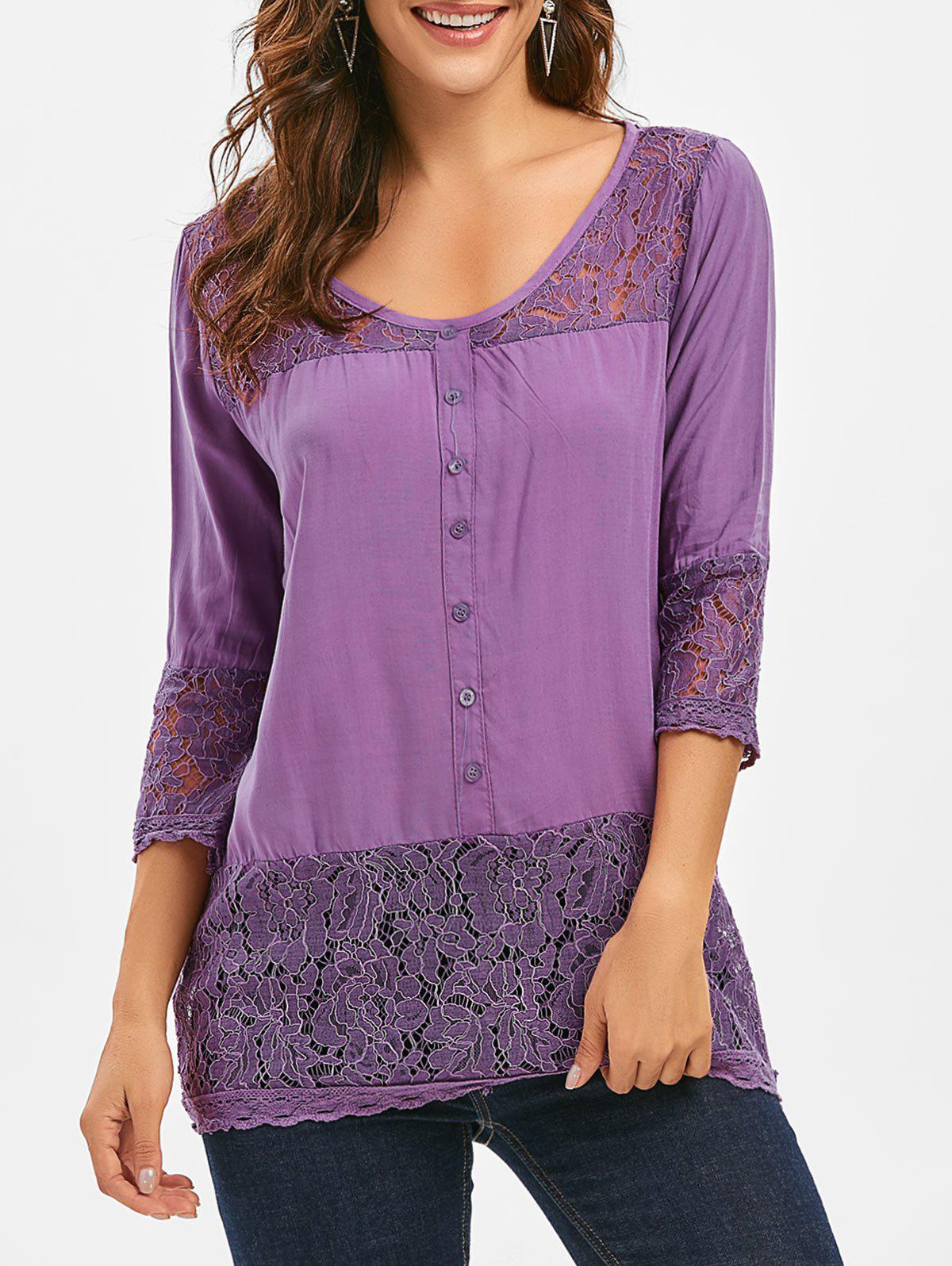 Hot Lace Panel Button Tunic Top