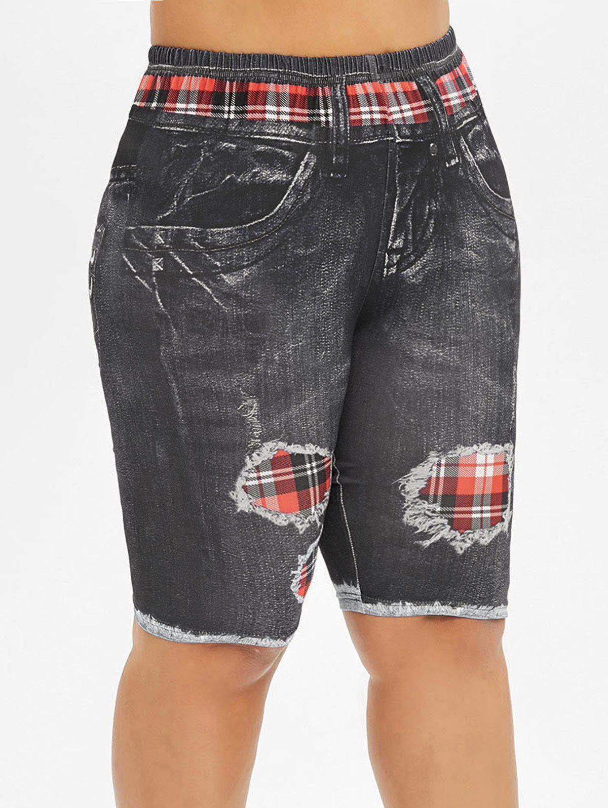 Buy Printed Skinny Plaid Panel Plus Size Shorts