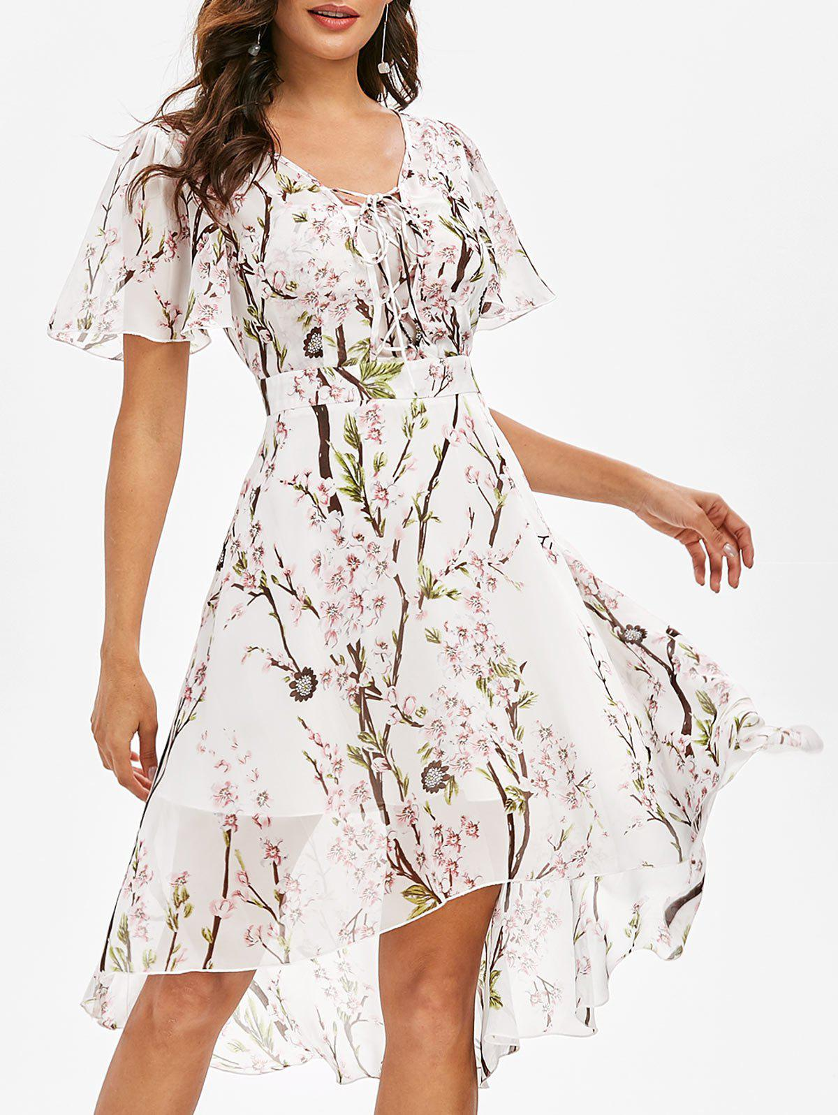 Fashion Flower Print Lace-up High Low Midi Dress