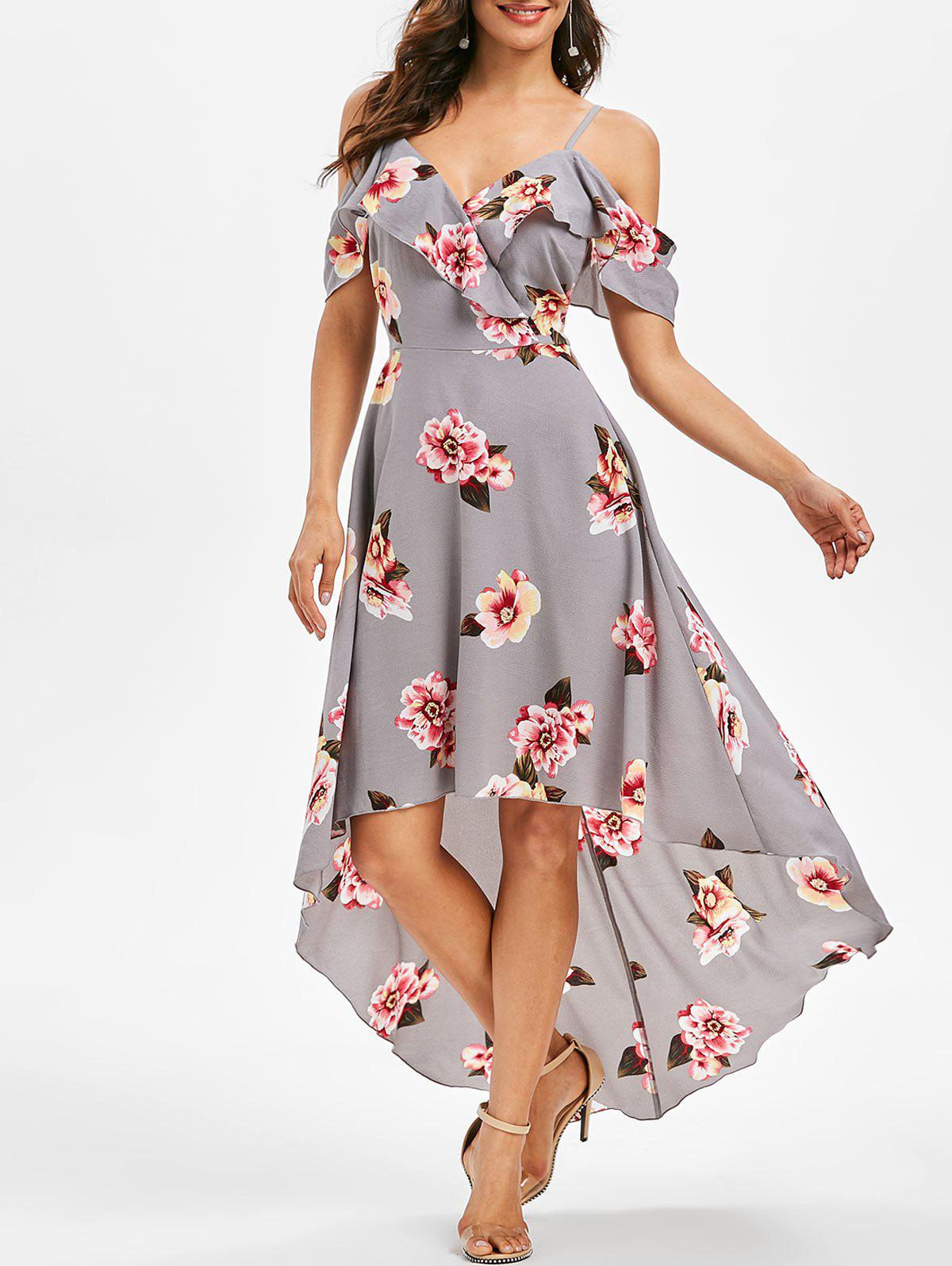 Shops Floral Print Cold Shoulder High Low Dress