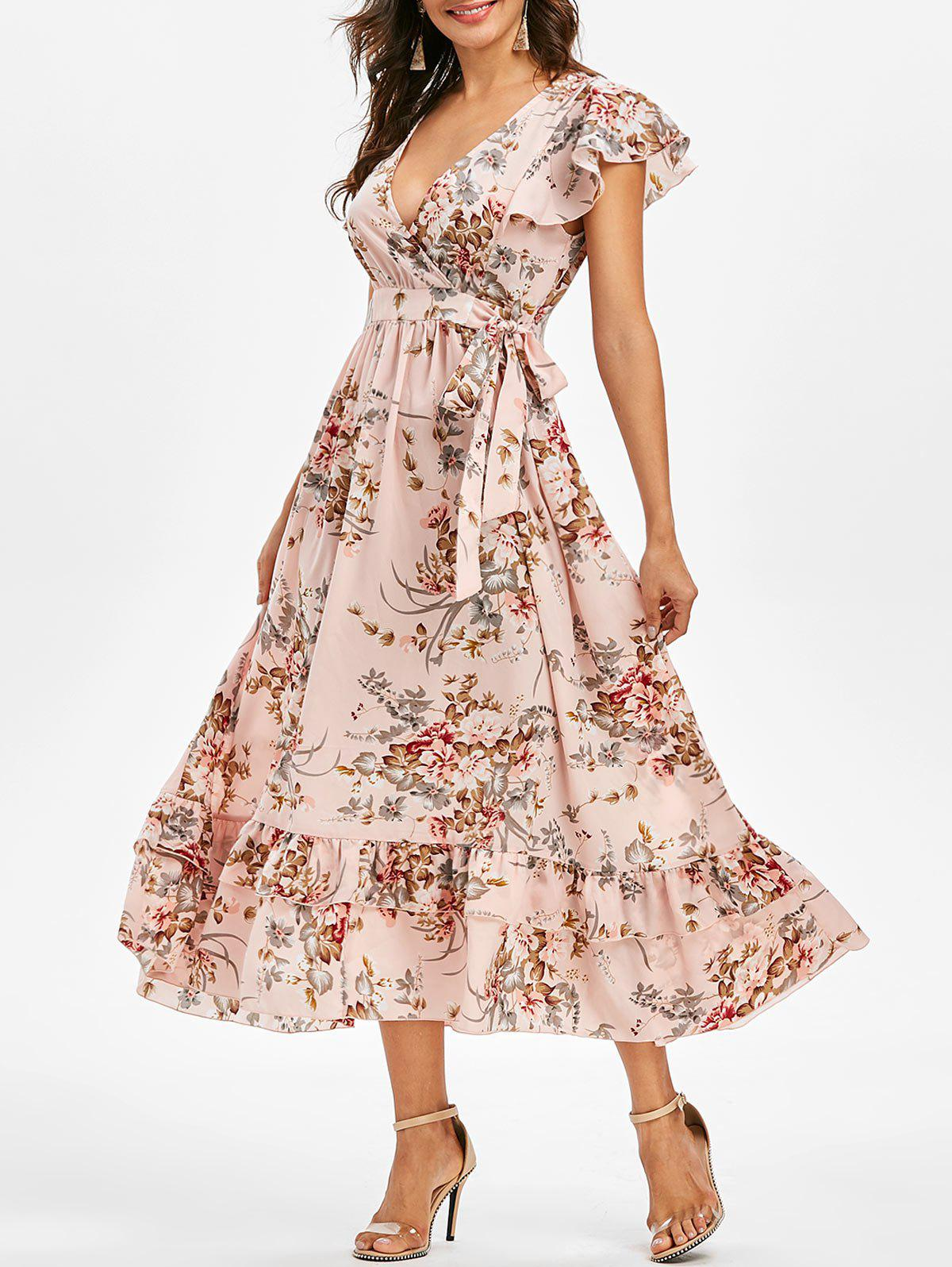 Online Floral Print Flounced Midi Surplice Dress