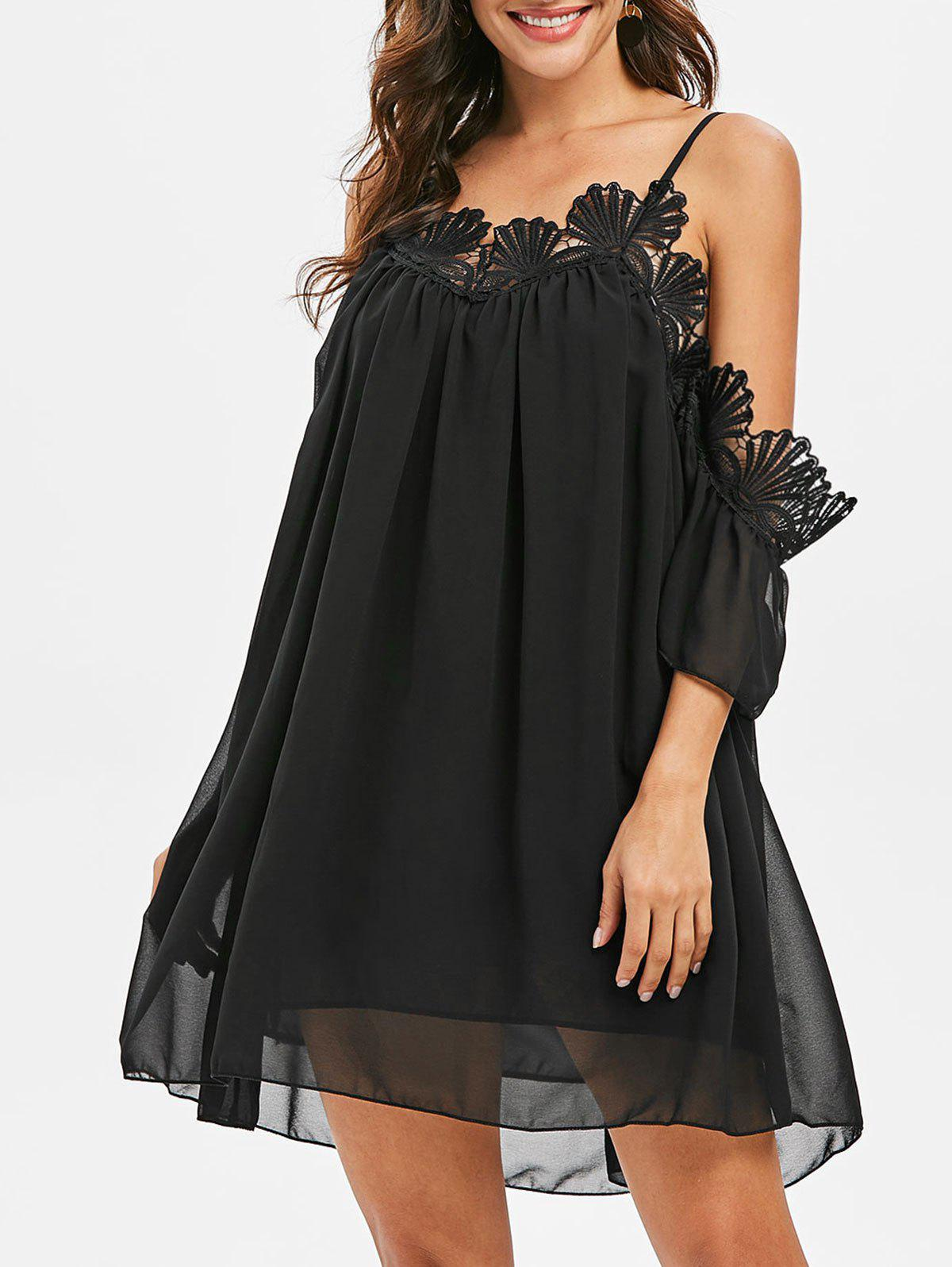 Store Lace Trim Loose Mini Cami Dress
