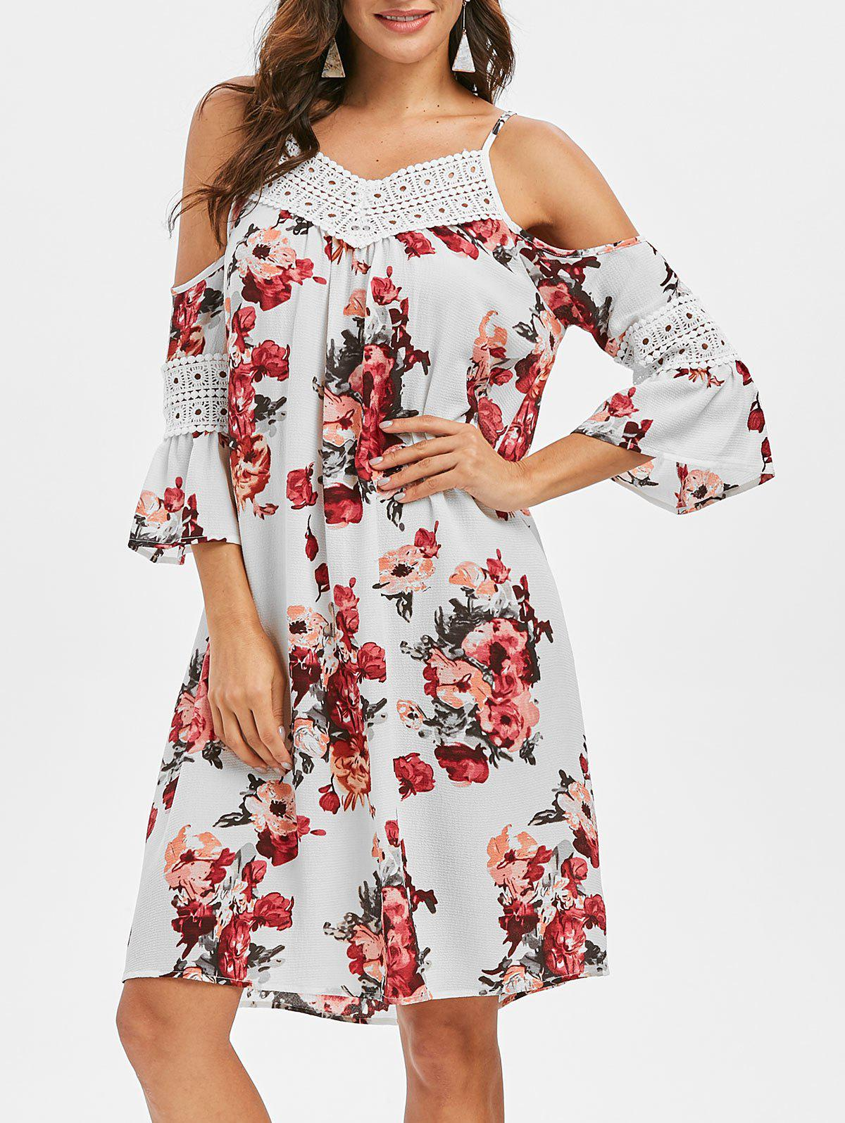 Affordable Floral Crochet Yoke Flare Sleeve Dress