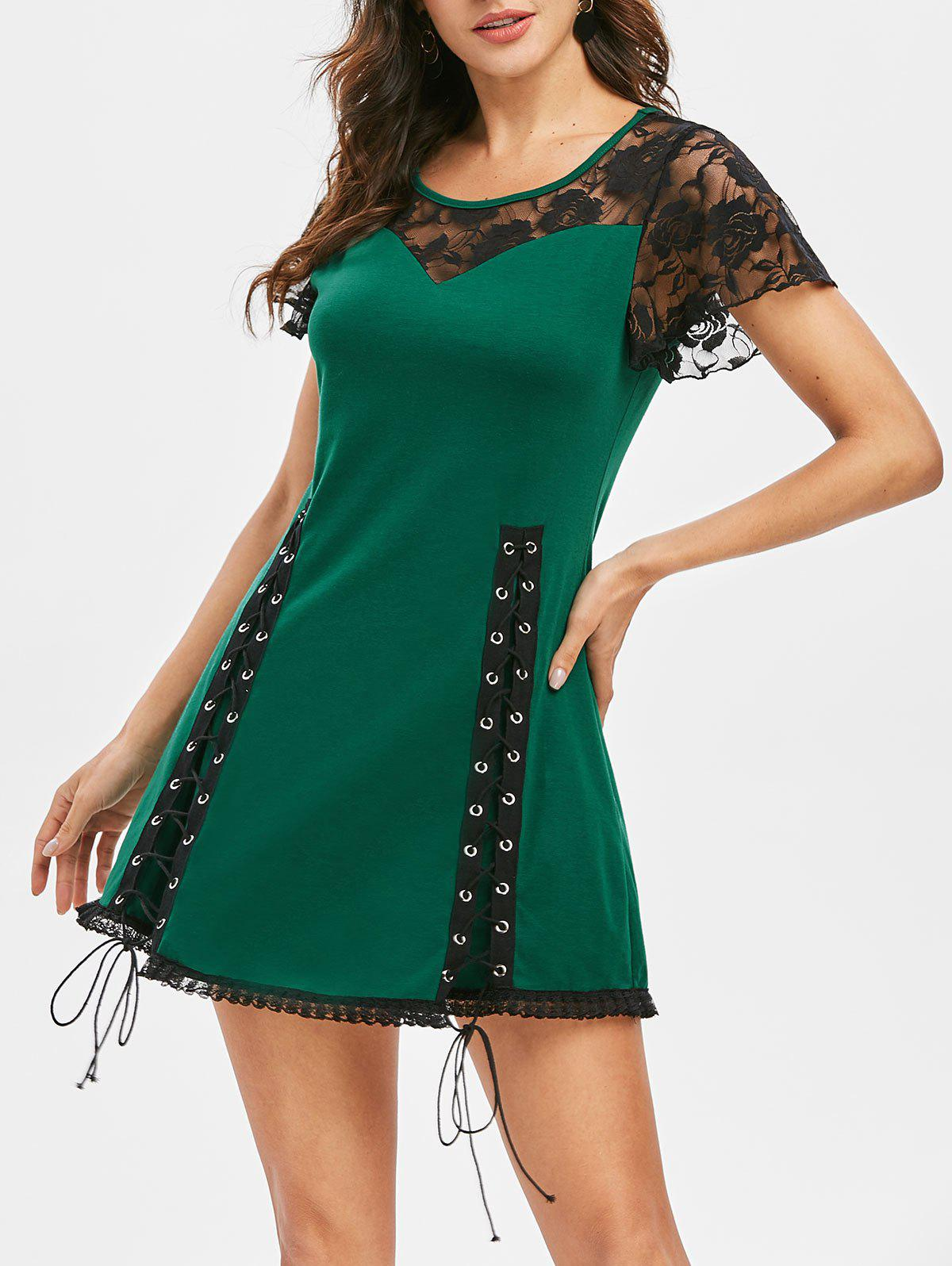 Latest Lace Up Fit And Flare Sheer Dress